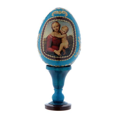 Oeuf La Petite Madone Cowper découpage bleu russe h tot 13 cm 1
