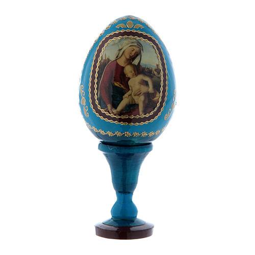 Russische Ei-Ikone, blau, Madonna mit dem Kinde, Gesamthöhe 13 cm