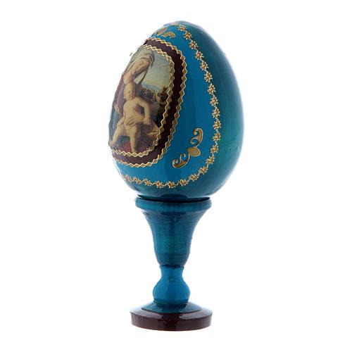 Oeuf découpage en bois russe Vierge à l'Enfant bleu h tot 13 cm
