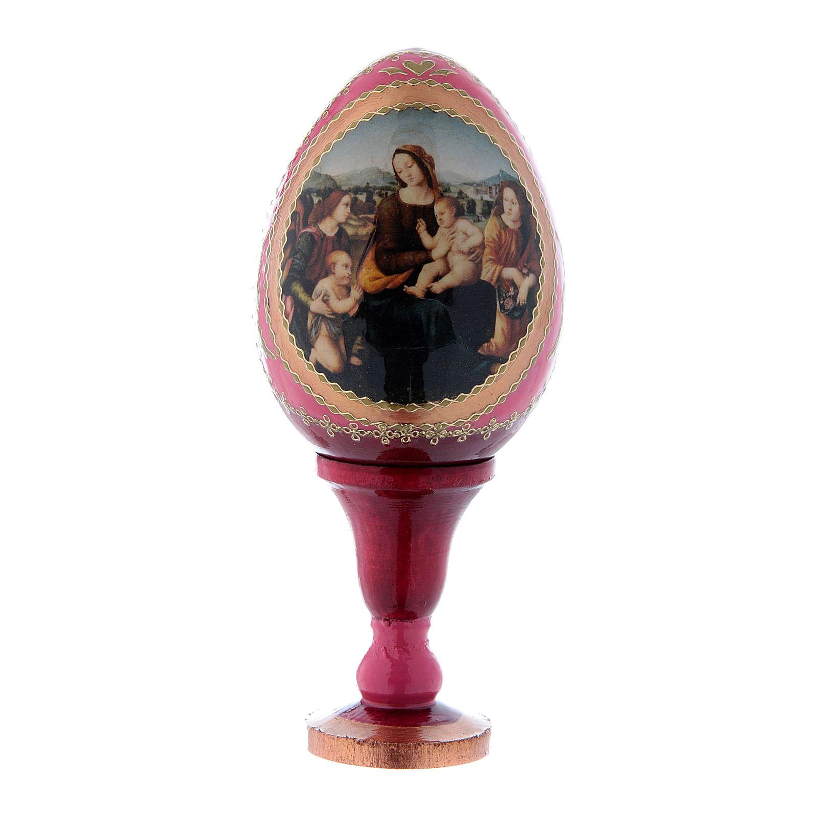 Uovo rosso icona russa Madonna col Bambino, San Giovannino e Angeli h tot 13 cm 4
