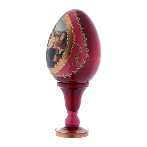 Uovo rosso icona russa Madonna col Bambino, San Giovannino e Angeli h tot 13 cm 2