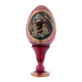 Uovo  La Madonna del Magnificat in legno russo rosso h tot 13 cm s1