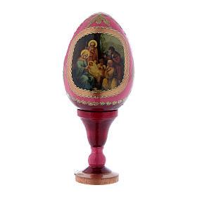 Uovo russo in legno rosso La Nascita di Gesù Cristo h tot 13 cm s1