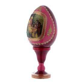 Uovo russo in legno rosso La Nascita di Gesù Cristo h tot 13 cm s2