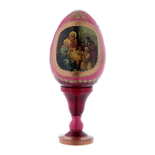 Uovo russo in legno rosso La Nascita di Gesù Cristo h tot 13 cm 1