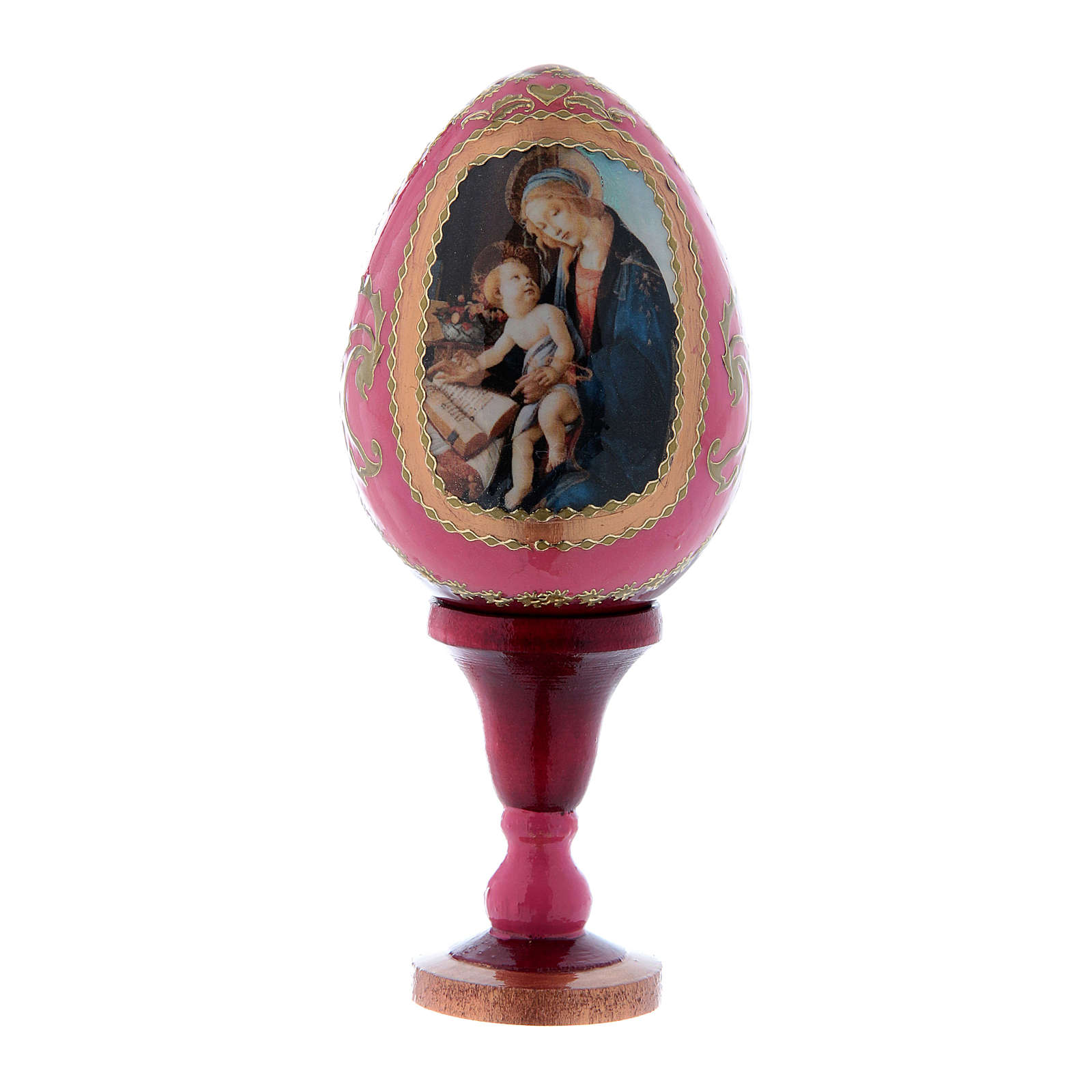 Uovo rosso La Madonna del Libro russo stile Fabergé h tot 13 cm 4