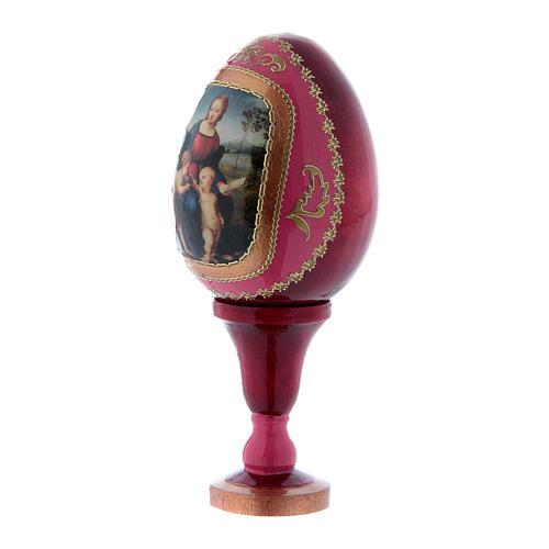 Oeuf La Vierge au chardonneret en bois rouge h tot 13 cm 2