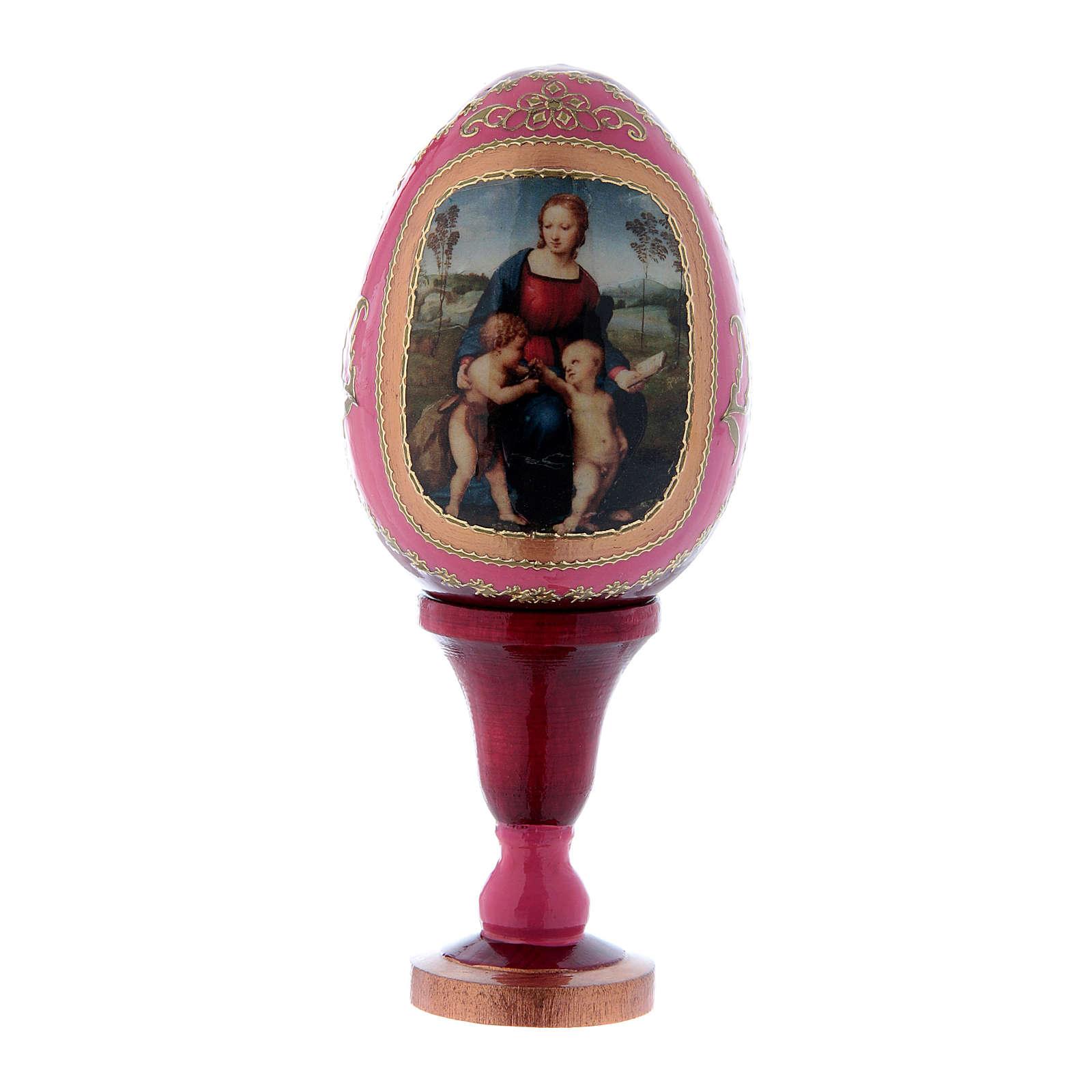 Uovo La Madonna del Cardellino in legno rosso h tot 13 cm 4