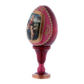 Uovo La Madonna del Cardellino in legno rosso h tot 13 cm s2