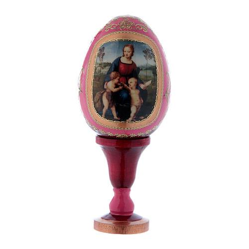 Uovo La Madonna del Cardellino in legno rosso h tot 13 cm 1