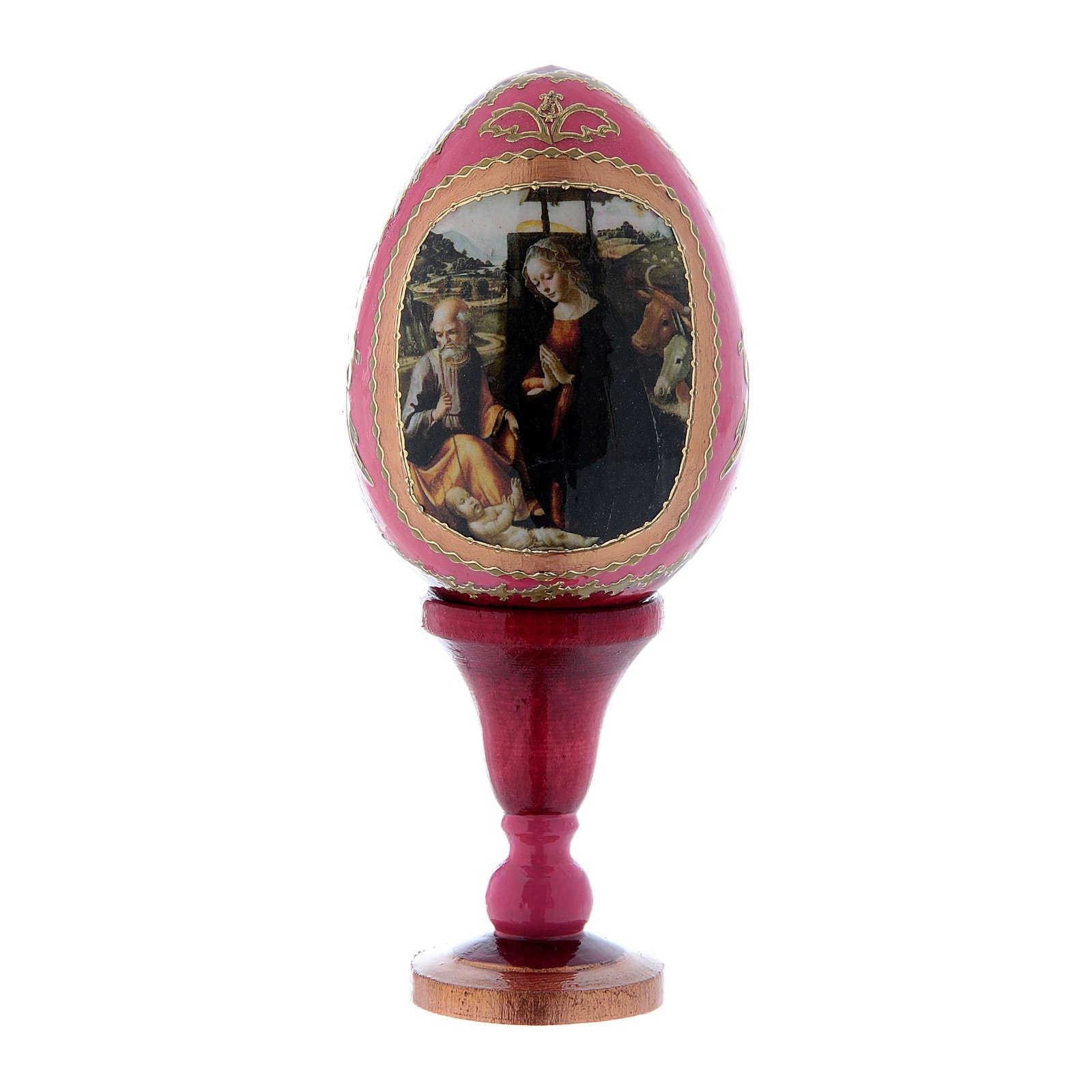 Oeuf russe découpage rouge Nativité h tot 13 cm 4