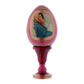 Uovo rosso icona russa La Madonnina h tot 13 cm s1