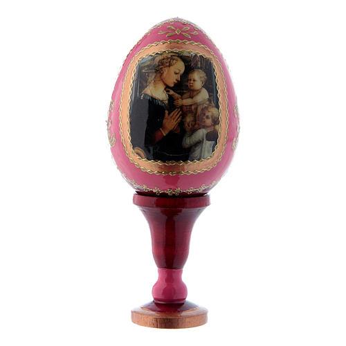 Russische Ei-Ikone, rot, Madonna mit Kind und zwei Engeln, Gesamthöhe 13 cm