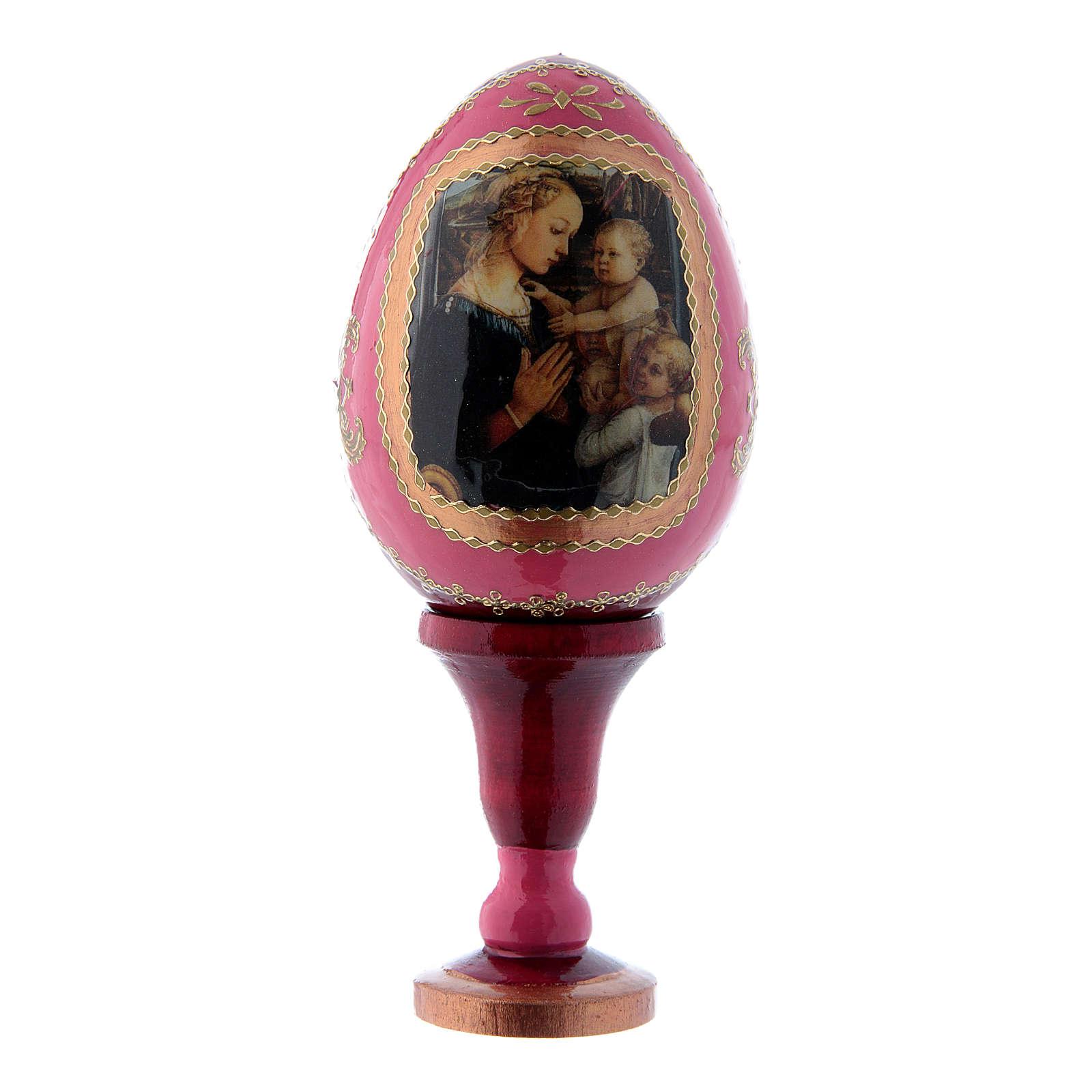 Uovo russo decorato a mano rosso La Madonna col Bambino e Angeli h tot 13 cm 4