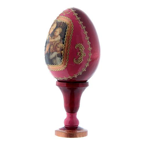 Uovo russo decorato a mano rosso La Madonna col Bambino e Angeli h tot 13 cm 2