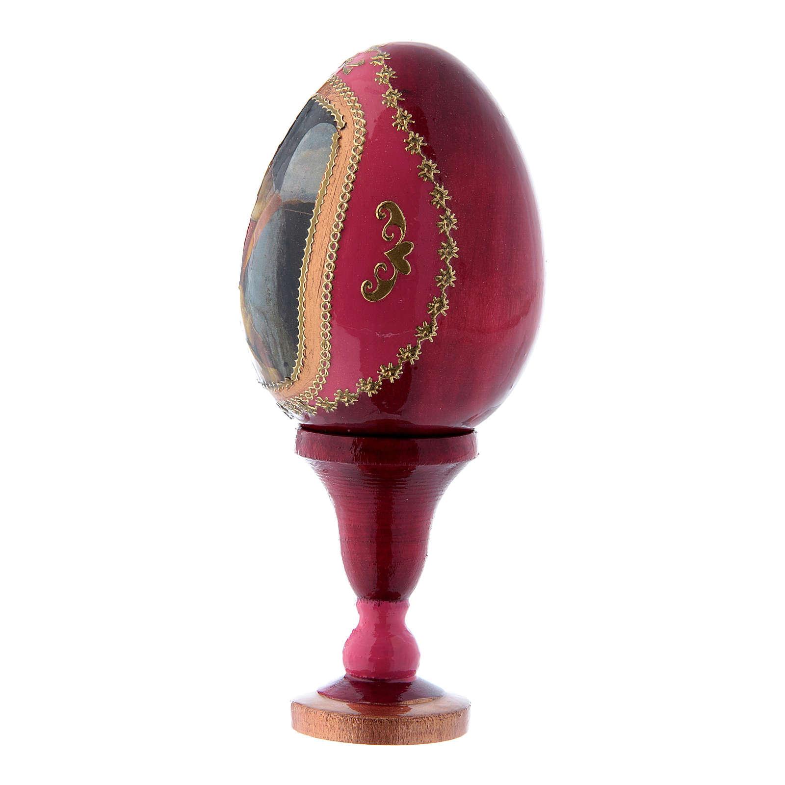 Oeuf en bois décoré main rouge russe La Madone Litta h tot 13 cm 4