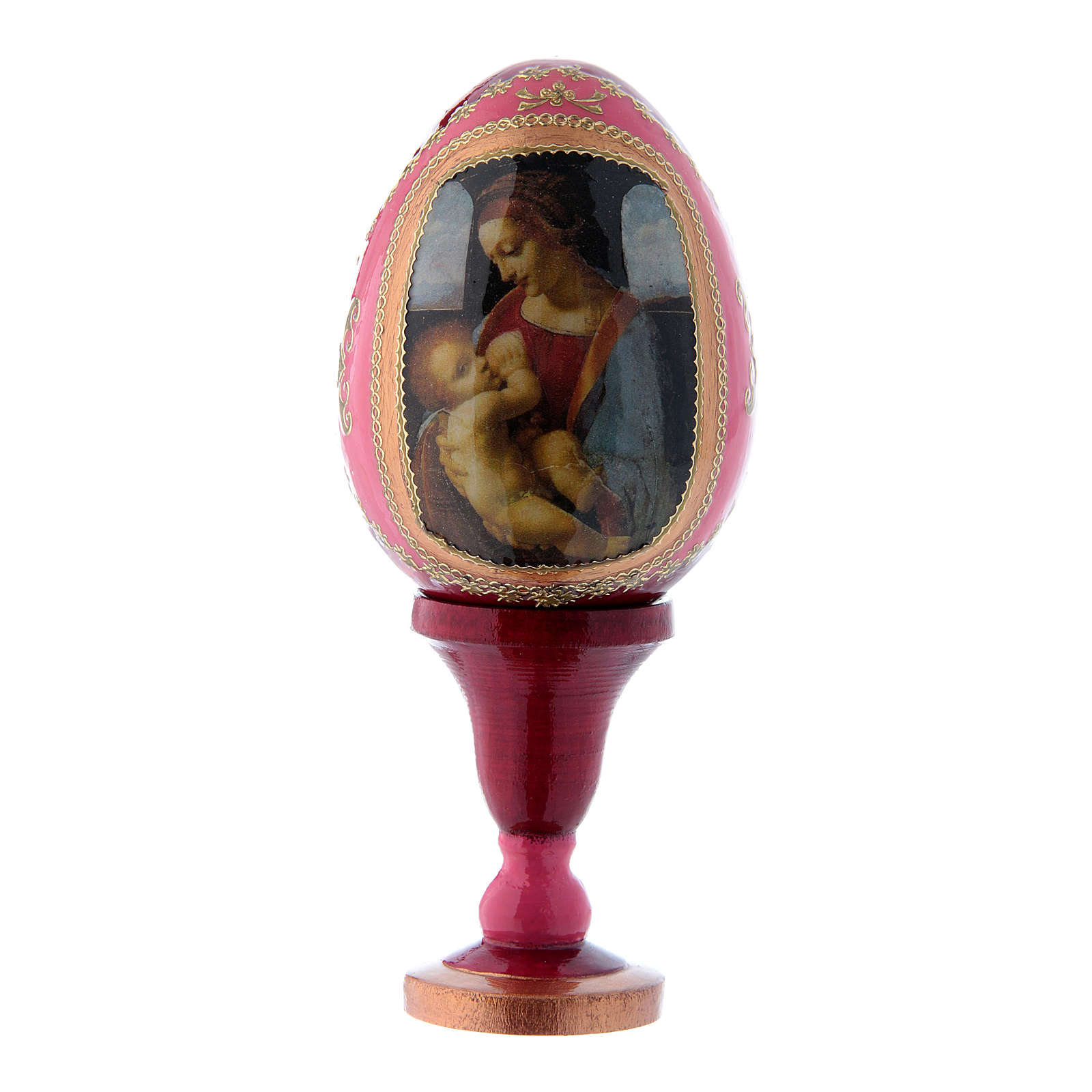 Uovo in legno decorato a mano rosso russo La Madonna Litta h tot 13 cm 4
