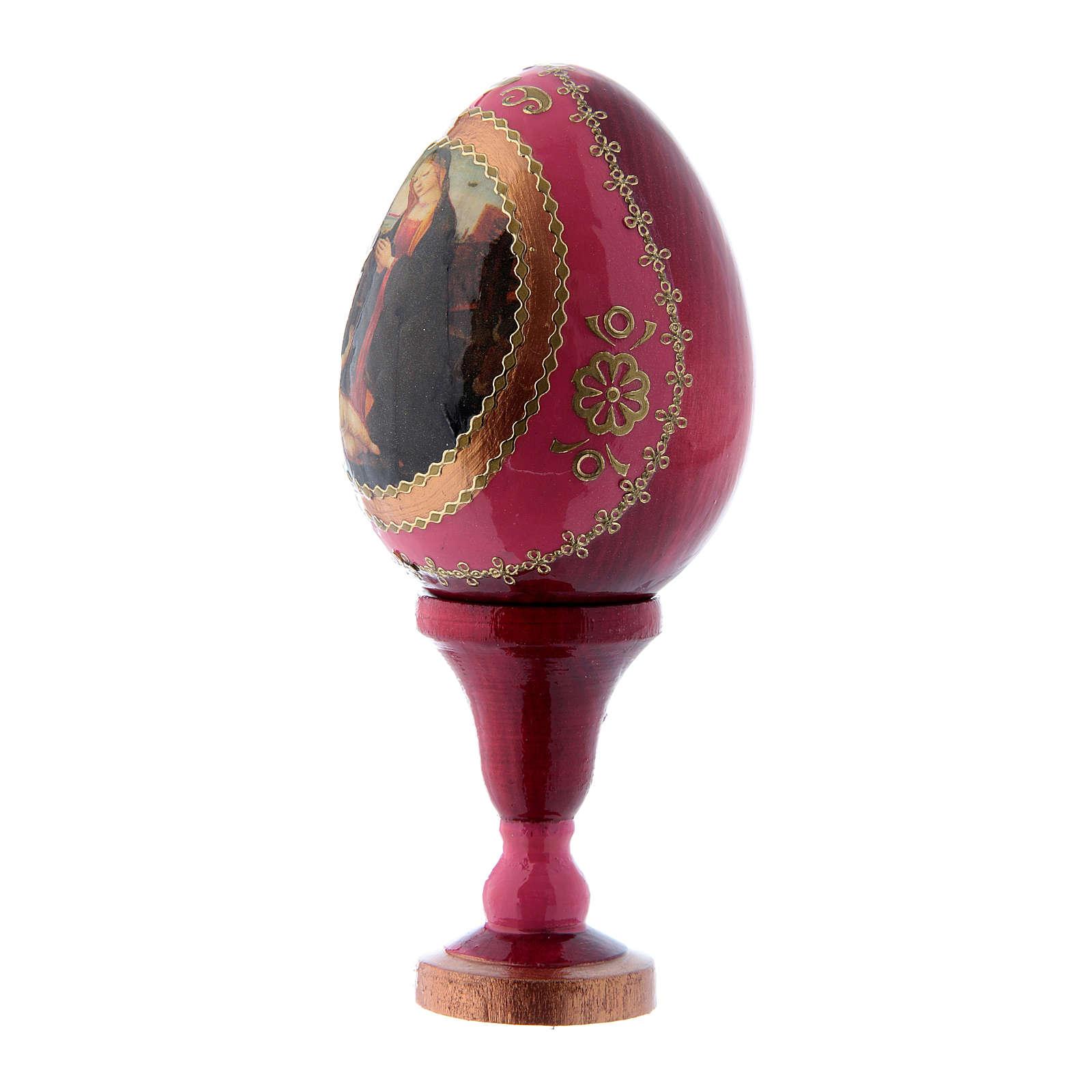 Uovo in legno russo decorato a mano rosso Madonna con Bambino S. Giovannino h tot 13 cm 4