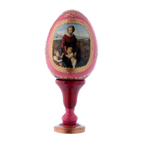 Russische Ei-Ikone, rot, Madonna im Garten, Fabergè-Stil, Gesamthöhe 13 cm