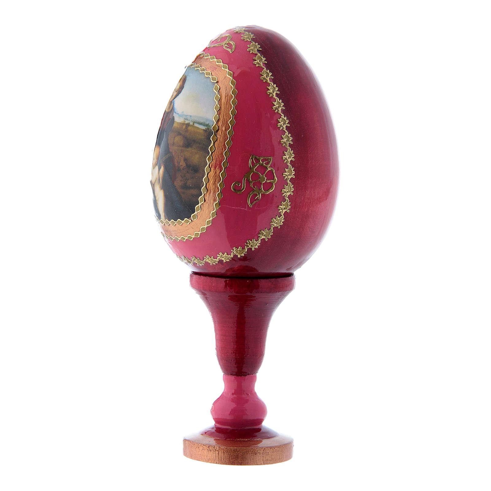Oeuf en bois russe découpage rouge La Madone à la prairie h tot 13 cm 4