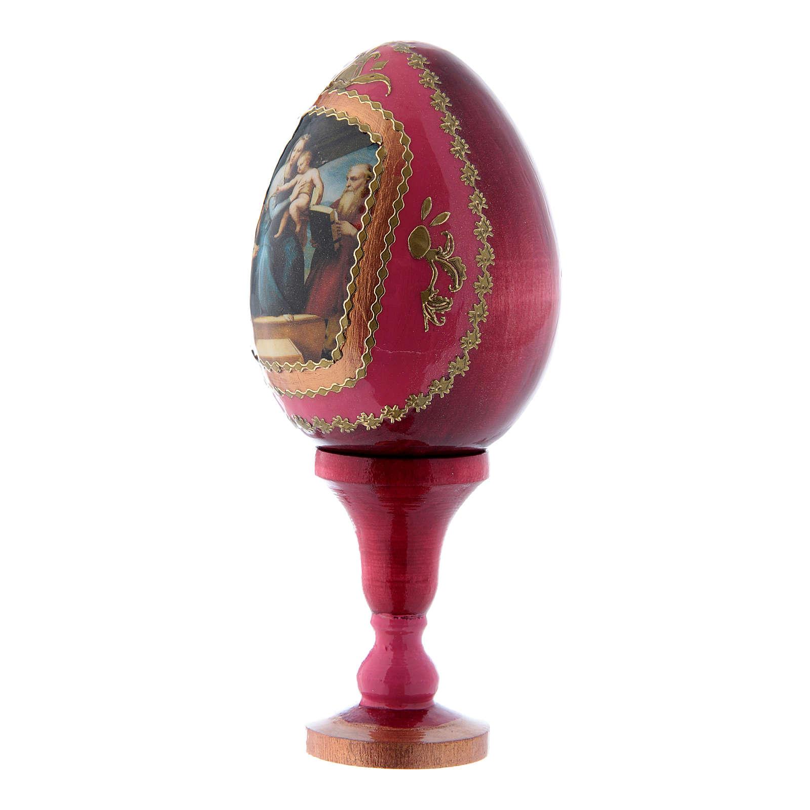 Uovo russo stile Fabergé decorato a mano rosso La Madonna del Pesce h tot 13 cm 4