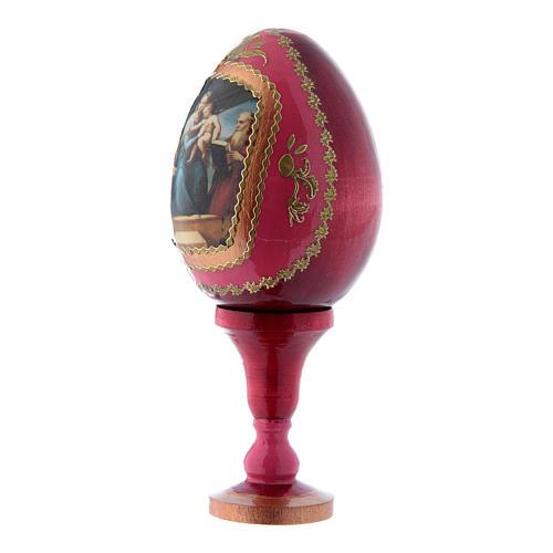 Uovo russo stile Fabergé decorato a mano rosso La Madonna del Pesce h tot 13 cm 2
