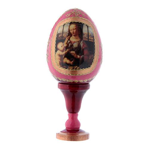 Russische Ei-Ikone, rot, Madonna mit dem Kinde, Fabergè-Stil, Gesamthöhe 13 cm