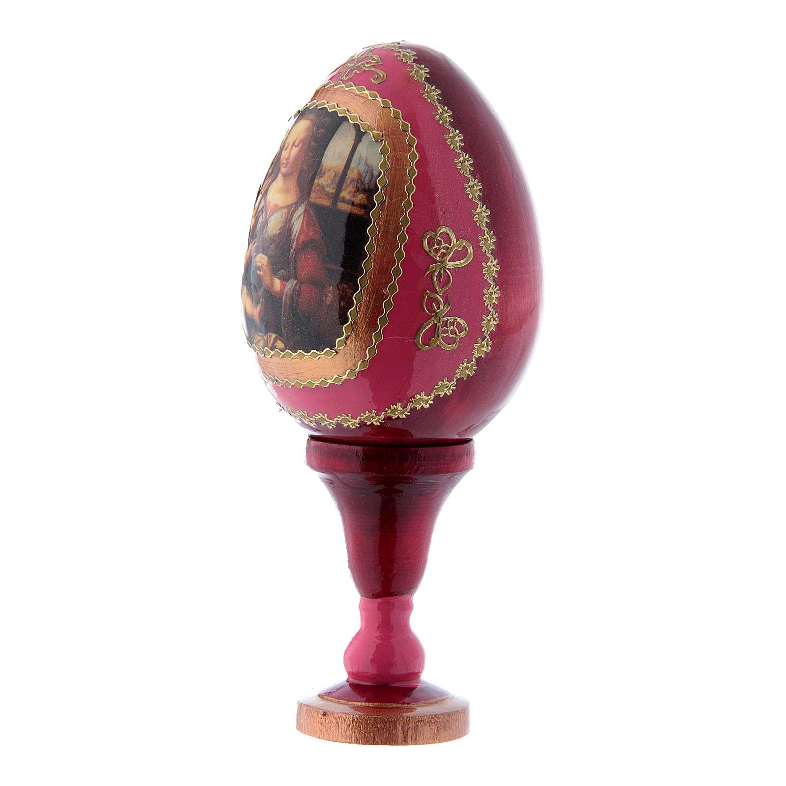 Uovo russo rosso in legno La Madonna col Bambino h tot 13 cm 4