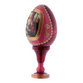Uovo russo rosso in legno La Madonna col Bambino h tot 13 cm s2