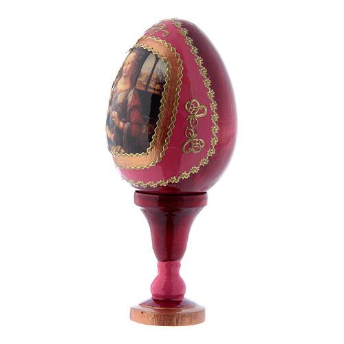 Uovo russo rosso in legno La Madonna col Bambino h tot 13 cm 2