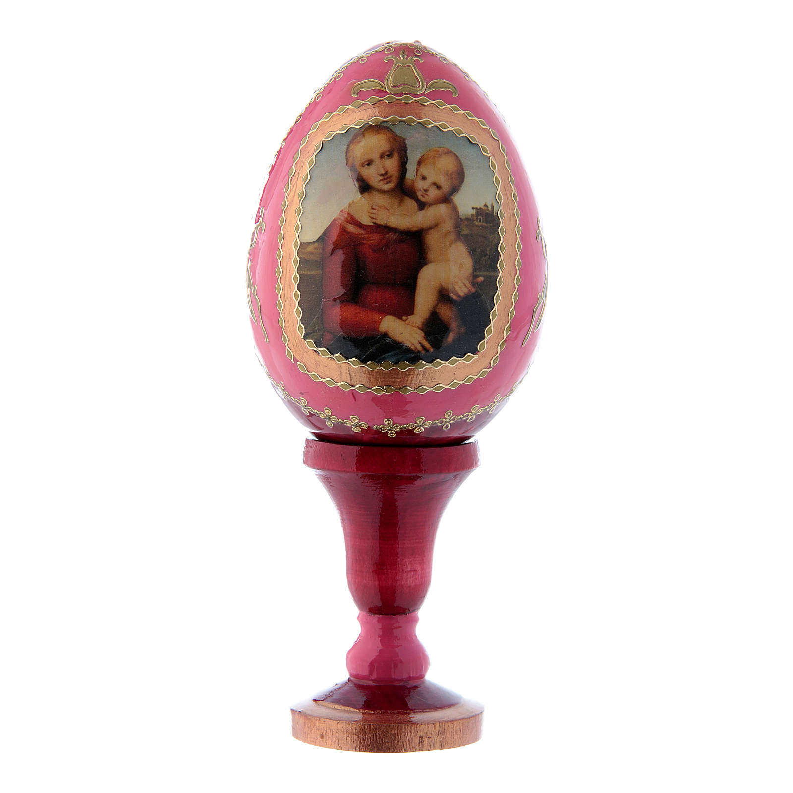 Oeuf rouge icône russe La Petite Madone Cowper h tot 13 cm 4