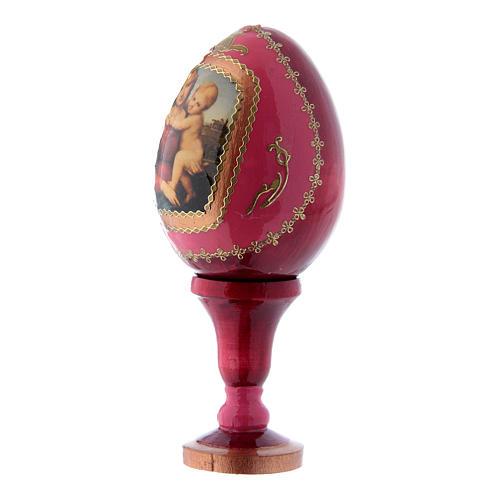 Uovo rosso icona russa La Piccola Madonna Cowper h tot 13 cm 2