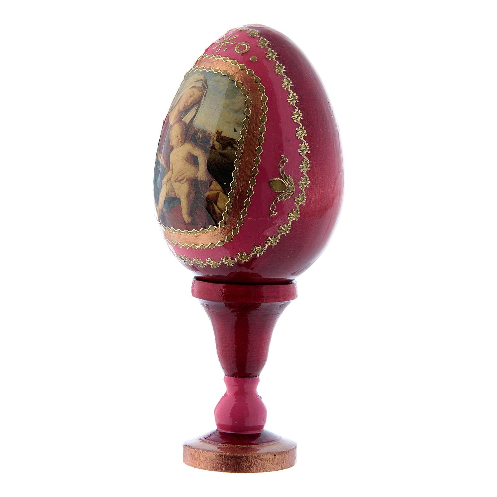 Uovo russo  in legno découpage rosso La Madonna con Bambino h tot 13 cm 4