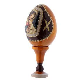 Uovo russo giallo in legno Madonna col Bambino  h tot 13 cm s2