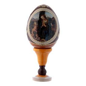 Uovo russo decorato a mano giallo Adorazione del Bambino con San Giovannino h tot 13 cm s1
