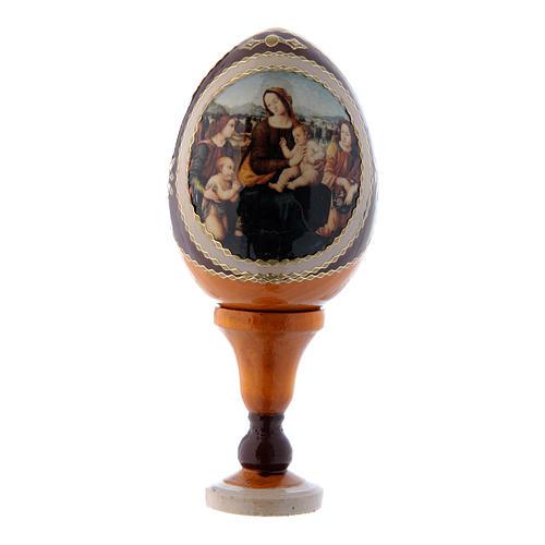 Russische Ei-Ikone, gelb, Madonna mit Kind, Johannesknaben und Engeln, Gesamthöhe 13 cm