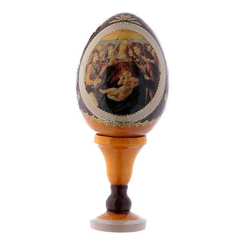 Russische Ei-Ikone, gelb, Madonna mit dem Granatapfel, Gesamthöhe 13 cm