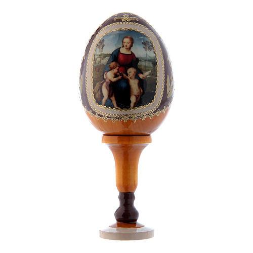 Russische Ei-Ikone, gelb, Madonna mit dem Stieglitz, Gesamthöhe 13 cm