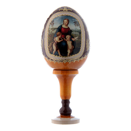 Oeuf La Vierge au chardonneret jaune russe décoré main h tot 13 cm