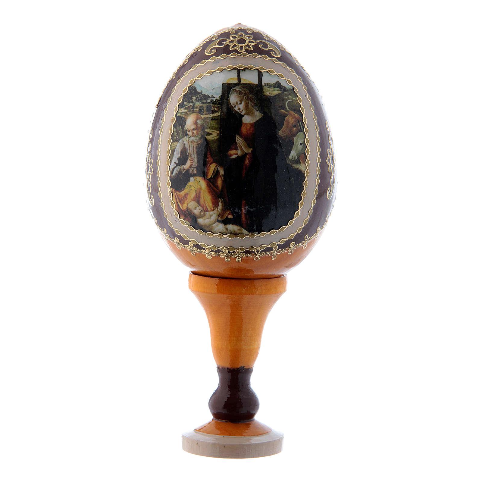 Uovo icona russa Natività giallo h tot 13 cm 4