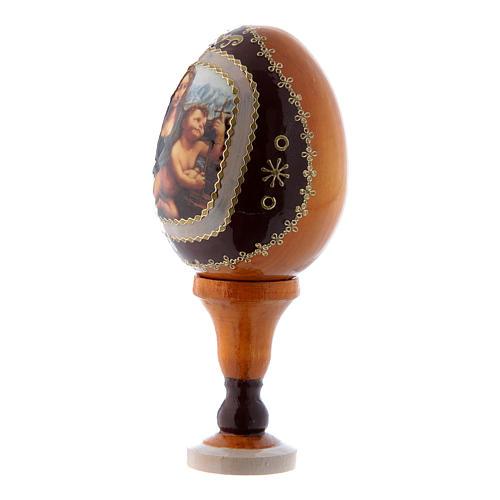 Russische Ei-Ikone, gelb, Madonna mit der Spindel, Gesamthöhe 13 cm