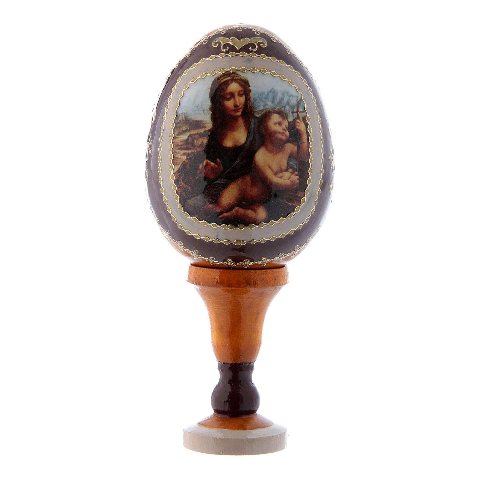 Uovo giallo stile Fabergè russo La Madonna dei Fusi h tot 13 cm 4