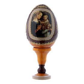 Uovo giallo in legno decorato a mano La Madonna col Bambino e Angeli russo h tot 13 cm s1