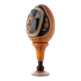Huevo amarillo ícono ruso de madera La Virgen Litta h tot 13 cm s2