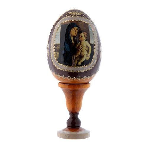 Russische Ei-Ikone, gelb, Madonna mit Kind, Gesamthöhe 13 cm