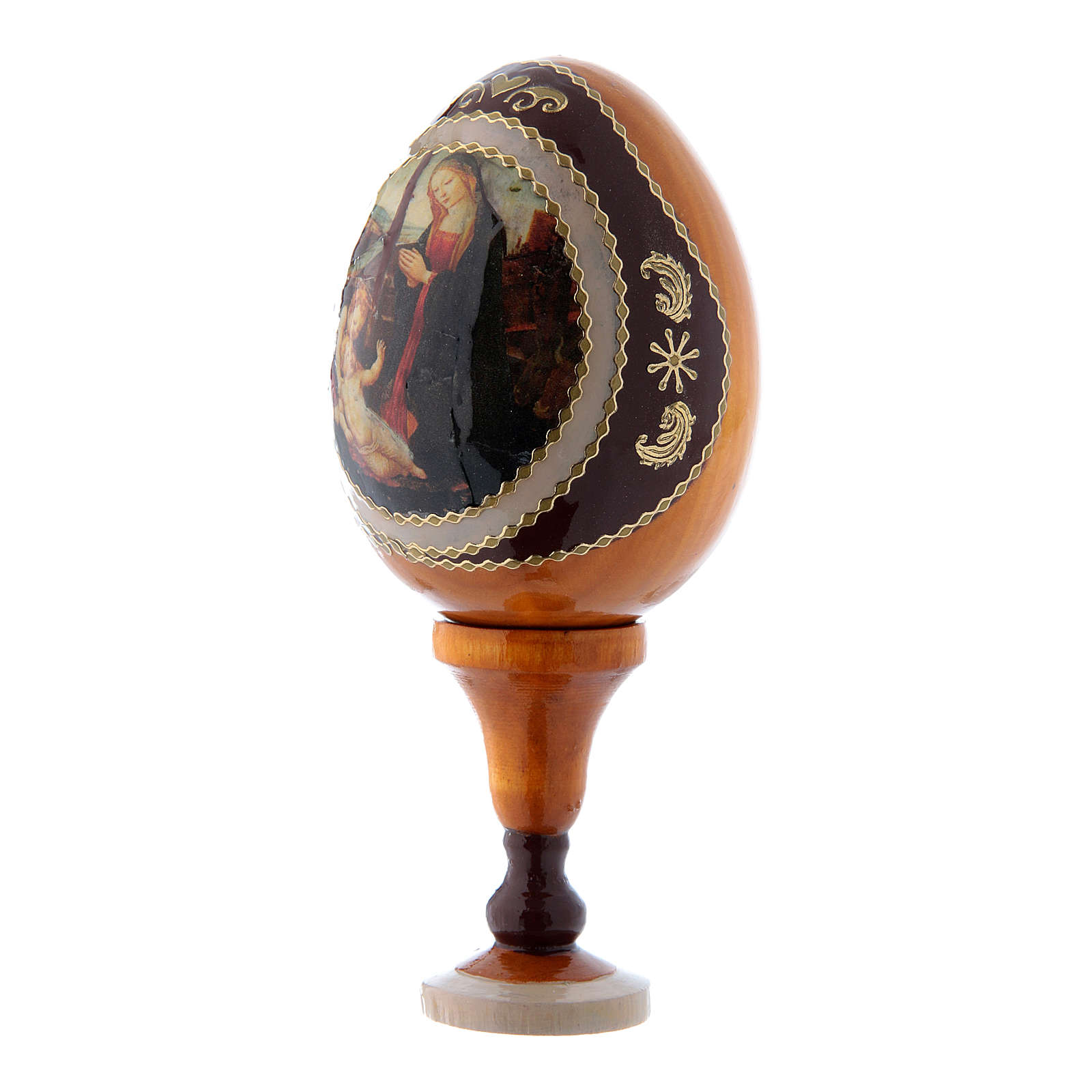 Uovo giallo decorato a mano russo Madonna con Bambino e San Giovannino h tot 13 cm 4