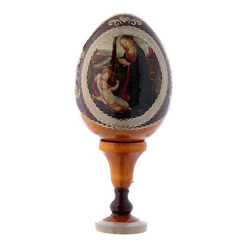 Uovo giallo decorato a mano russo Madonna con Bambino e San Giovannino h tot 13 cm 1
