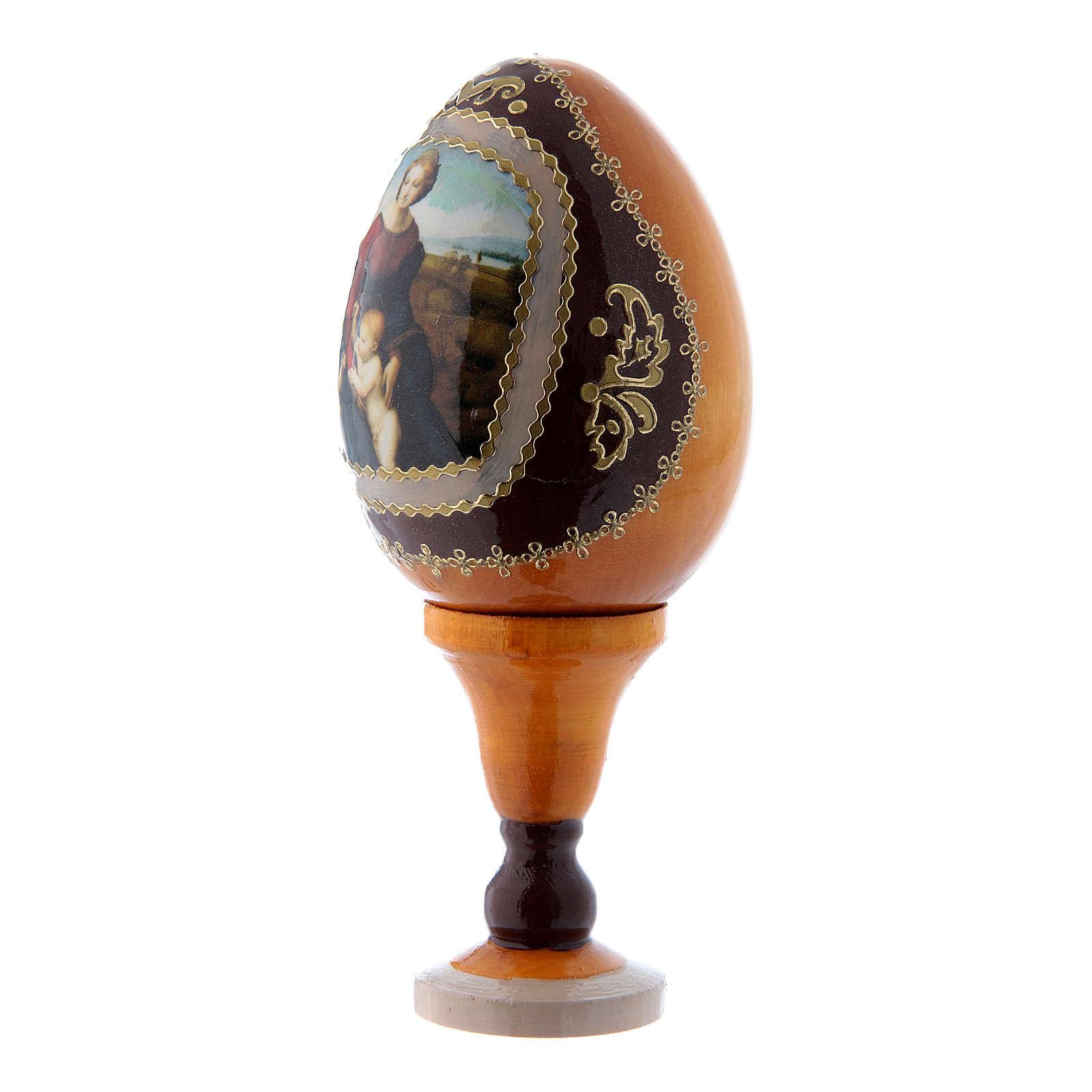 Uovo stile Fabergè russo La Madonna del Belvedere in legno giallo h tot 13 cm 4