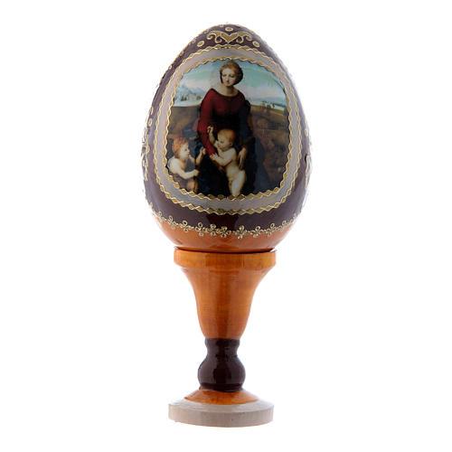 Uovo stile Fabergè russo La Madonna del Belvedere in legno giallo h tot 13 cm 1