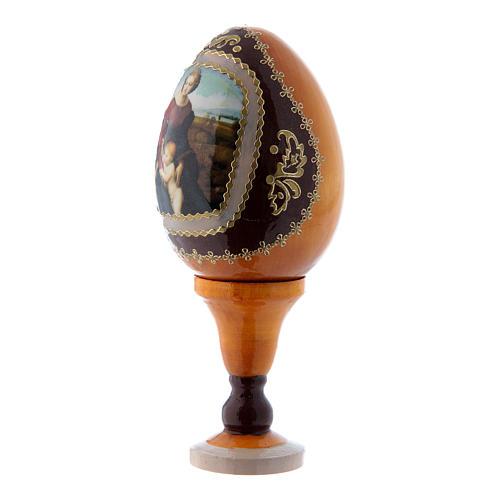 Uovo stile Fabergè russo La Madonna del Belvedere in legno giallo h tot 13 cm 2